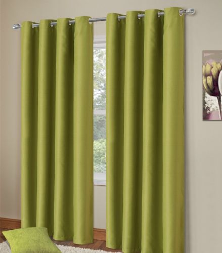 PLAIN GREEN COLOUR THERMAL BLACKOUT BEDROOM LIVINGROOM READYMADE CURTAINS RINGTOP EYELETS